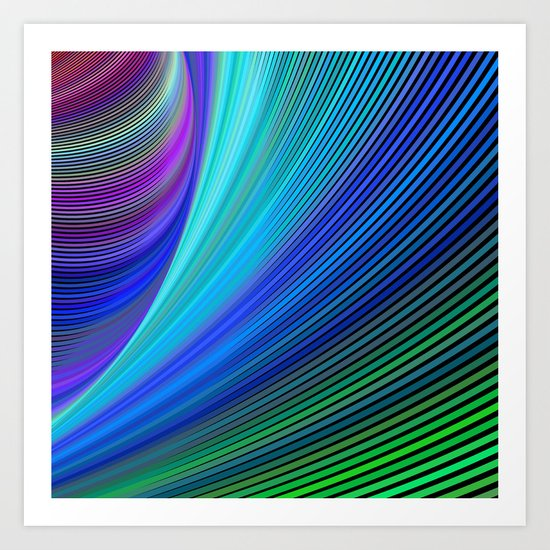 Surfing in a magic wave Art Print