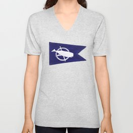 Nantucket Blue and White Sperm Whale Burgee Flag Hand-Painted Unisex V-Neck