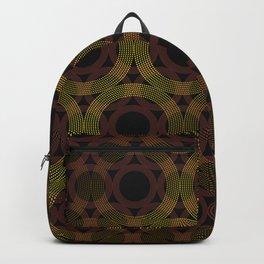 Beaded Circles Maroon and Gold Backpack