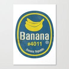 Banana Sticker On White Canvas Print