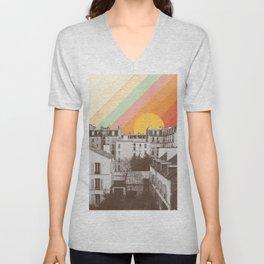 Rainbow Sky Above Paris Unisex V-Neck
