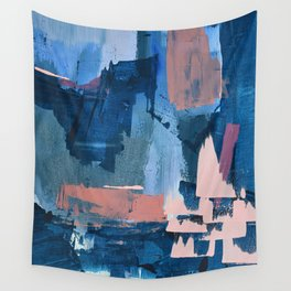 Rhythm of Rain: a modern abstract piece by Alyssa Hamilton Art in blues and pinks Wall Tapestry