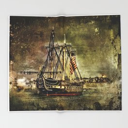 Tall ship USS Constitution Throw Blanket