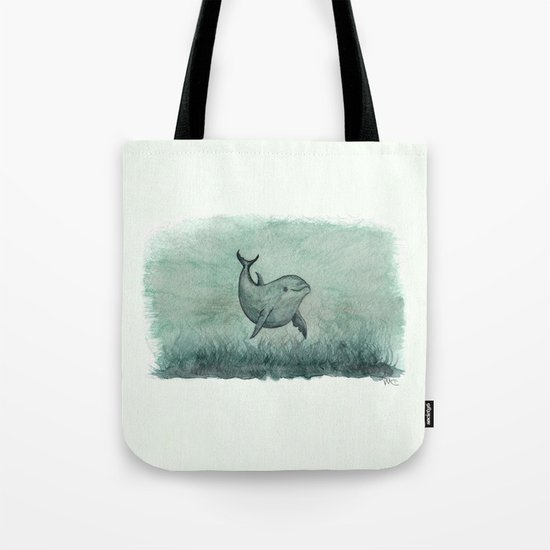 """""""Notches"""" by Amber Marine ~ Indian River Lagoon dolphin art, watercolor painting, (Copyright 2013) Tote Bag"""