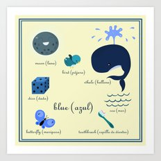 Colors: blue (Los colores: azul) Art Print