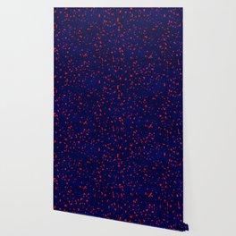 Terrazzo memphis blue galaxy orange Wallpaper