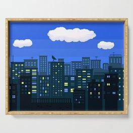 Night City Pixel Art Serving Tray