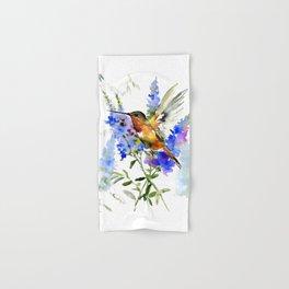 Alen's Hummingbird and Blue Flowers, floral bird design birds, watercolor floral bird art Hand & Bath Towel