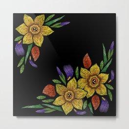 Embroidered Flowers on Black Corner 05 Metal Print
