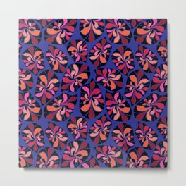 African inspired abstract leaves tribal. Blue black red orange coral pattern Metal Print