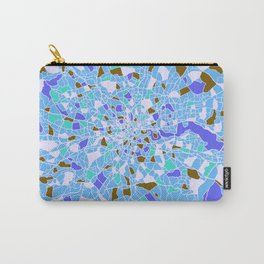 London England Colorful Map Blue Carry-All Pouch