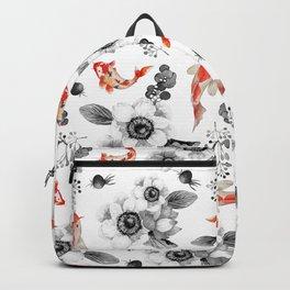 Colorful orange black white watercolor floral koi fish Backpack