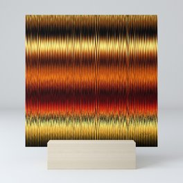 Autumnal Gold Stripes Abstract Mini Art Print