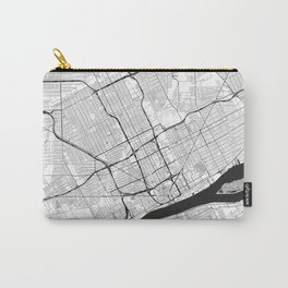 Detroit Map Gray Carry-All Pouch