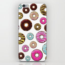 Donut Pattern, Colorful Donuts - Pink Blue Yellow iPhone Skin