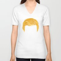 misfits V-neck T-shirts featuring Trumpzig by Chris Piascik
