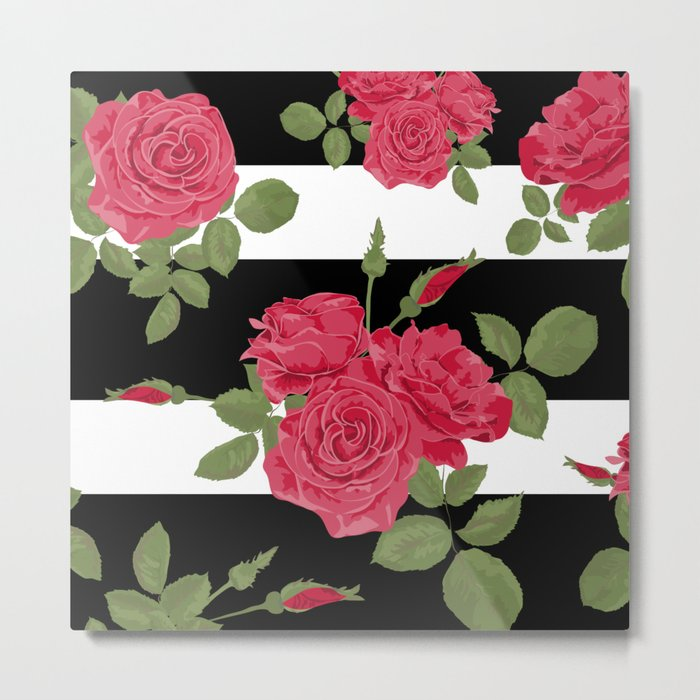 Red roses with horizontal stripes black white Metal Print