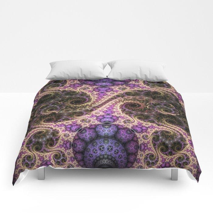 swirls, orbs and little flowers Comforters