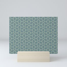 Blue-Green Green Line Pattern 12 Abstract Flower 2021 Color of the Year Aegean Teal Salisbury Green Mini Art Print