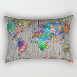 world map wood 6 Rectangular Pillow
