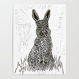 Rabbit Lino Print Poster