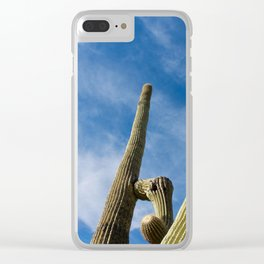 Saguaro Cactus Arms Reaching to a Blue Sky Clear iPhone Case