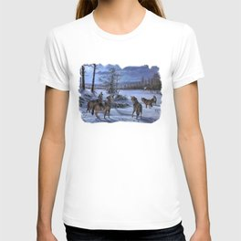 Beautiful artwork in a scenic lake setting with a full moon shining and the pack is howling! T-shirt