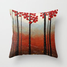 Red Blossom Throw Pillow