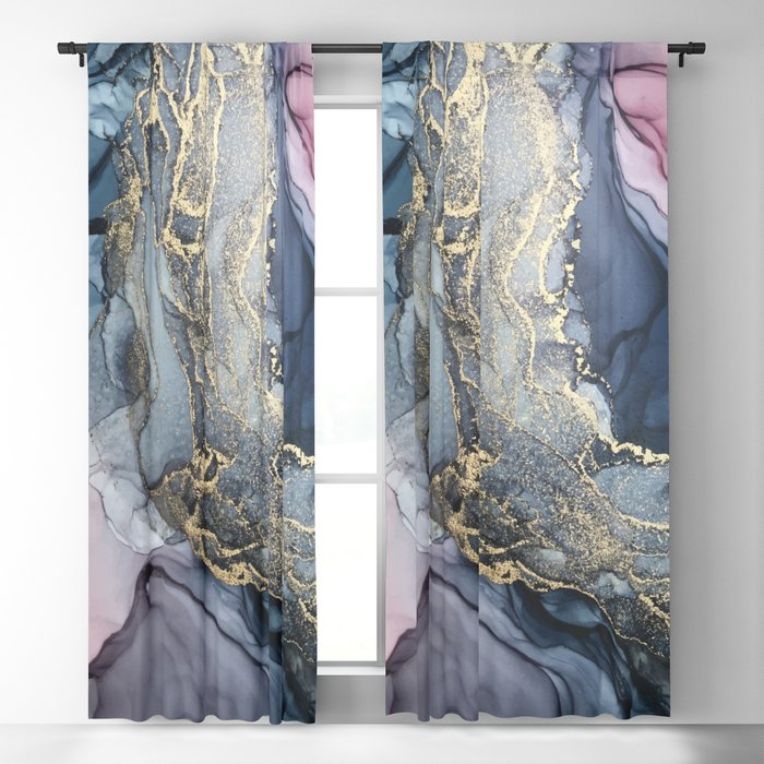 Blush, Payne's Gray and Gold Metallic Abstract Blackout Curtain