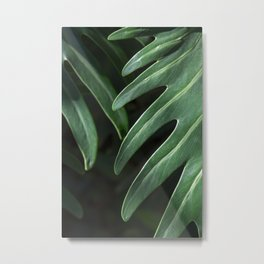 Tropical Leaves on Black Metal Print