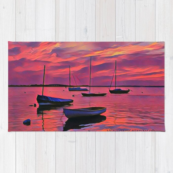 Sunset on the Mooring Field Boats Rug