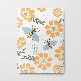 Honey Bees and Orange Flowers Metal Print