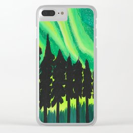 Serene Aurora Borealis Clear iPhone Case