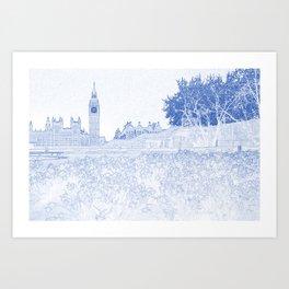Blueprint Drawing of British Parlament Art Print