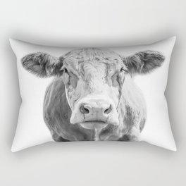Highland Cow Portrait | Animal Photography | Black and White | Art Print Minimalism | Farm Animal Rectangular Pillow