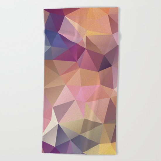 Abstract of triangles polygon in multicolor Beach Towel