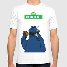 Cookie Monster Mens Fitted Tee MEDIUM White