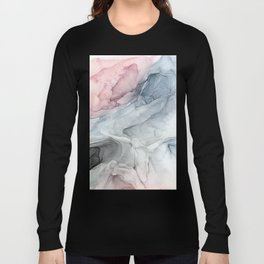 Pastel Blush, Grey and Blue Ink Clouds Painting Long Sleeve T-shirt