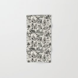 Alice in Wonderland | Toile de Jouy Pattern | Black | Beige | Vintage Pattern | Victorian Gothic | Hand & Bath Towel