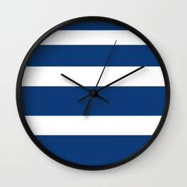 Navy Blue and White Stripe Wall Clock