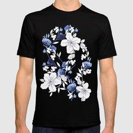 Black White Blue Floral T-shirt