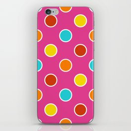 Geometric Candy Dot Circles In Bright Summer Multi Colors - Pink Yellow Orange Red Turquoise iPhone Skin