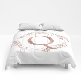 Letter Q Rose Gold Pink Initial Monogram Comforters