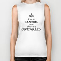 fandom Biker Tanks featuring Uncontrollable Fangirl with Fandom Symbol by Oh the Book Feels!
