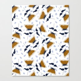 Gold and White Flowers with Blue Canvas Print