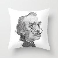 salvador dali Throw Pillows featuring Salvador Dali by Stavros Damos