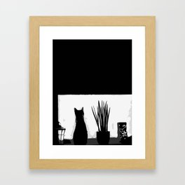 Kitty in the Window Framed Art Print