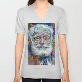ERNEST HEMINGWAY - watercolor portrait.7 Unisex V-Neck