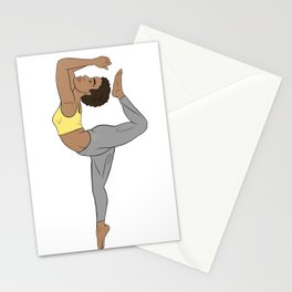 Calm Yellow Kemetic Yoga Pose Stationery Cards