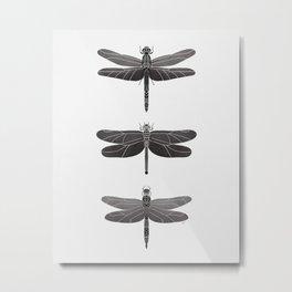 Dragonflies Pattern - Black & Gray Metal Print